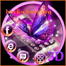 3D Neon Purple Butterfly Theme icon