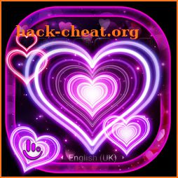 3D Sparkling Neon Love Hearts Keyboard Theme icon