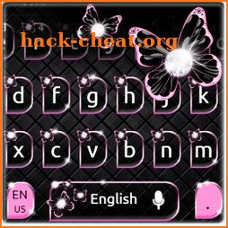 Black Pink Butterfly Keyboard Theme icon
