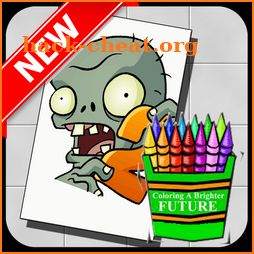 Coloring plants vs zombies icon