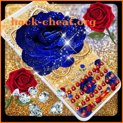 Crystal Blue Golden Rose Keyboard icon