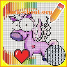 Draw & coloring unicorn -Pixel Art color by number icon
