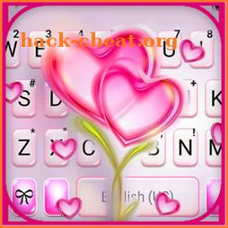 Flower Pink Hearts Keyboard Background icon