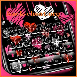 Girly Hearts Doodle Keyboard Theme icon