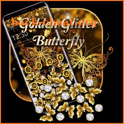 Golden Glitter Butterfly Gravity theme icon