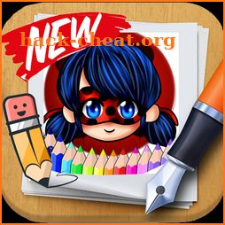 Ladybug & Cat Noir Coloring page app by fans icon