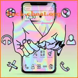 Laser Black Love Hand Theme icon