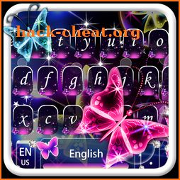 Neon shining Butterfly Keyboard Theme icon