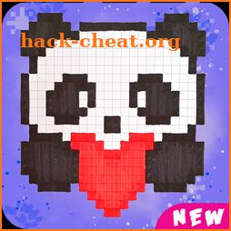 Panda Pix art color by number -Colorbox Draw pixel icon