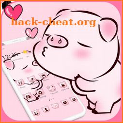 Pink Cute Love Piggy Theme icon