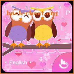 Pink Lovely Owl Keyboard Theme icon
