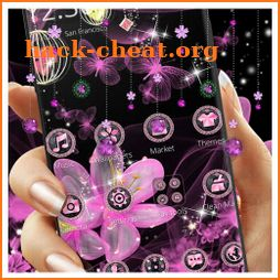 Pink Neon Flower Glitter Bling Theme icon