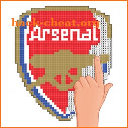Pixel art football logo coloring : Color by Number icon