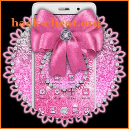 Shiny Pink Glitter Bow Theme icon