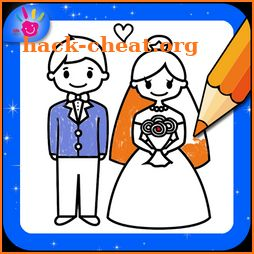Wedding Coloring Pages Bride And Groom icon