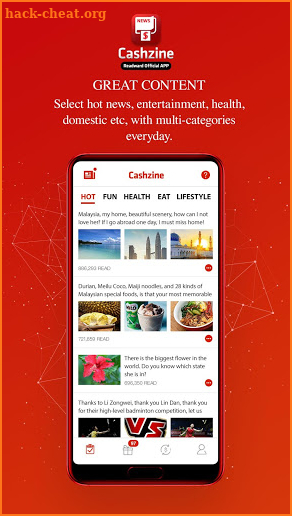 Cashzine - Earn Free Cash via News Reading App screenshot