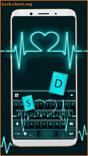 Neon Heart Love Keyboard Theme screenshot