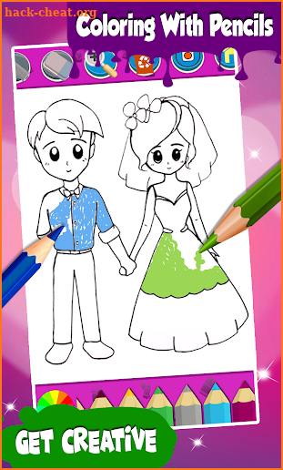 Wedding Coloring Pages Bride And Groom screenshot